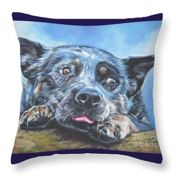Throw Pillow featuring the painting The Blue Heeler by Lee Ann Shepard