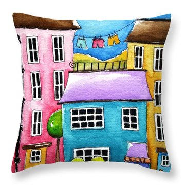 The Blue House Throw Pillow by Lucia Stewart