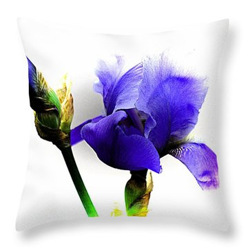 The Blue Iris Throw Pillow