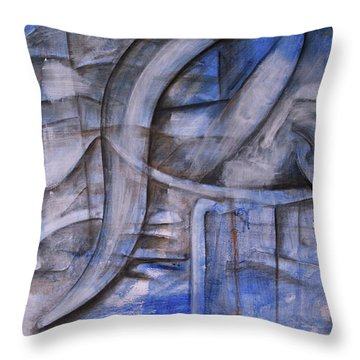 Throw Pillow featuring the painting The Blue Machine by Keith A Link