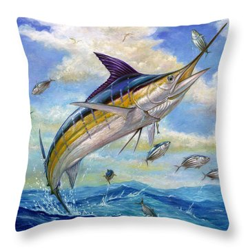 The Blue Marlin Leaping To Eat Throw Pillow