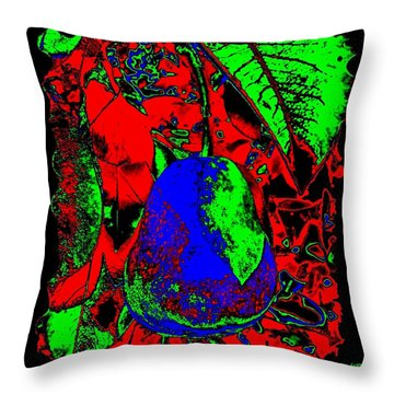 The Blue Pear Throw Pillow by Will Borden