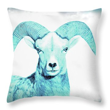 Throw Pillow featuring the photograph The Blue Ram by Jennie Marie Schell