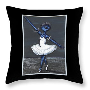 Throw Pillow featuring the painting The Blue Swan by Similar Alien