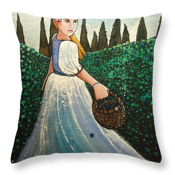 Throw Pillow featuring the painting The Blueberry Harvest by Mary Ellen Frazee