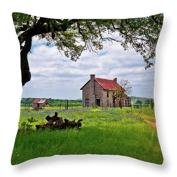 Throw Pillow featuring the photograph The Bluebonnet House by Linda Unger