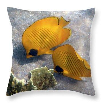 The Bluecheeked Butterflyfish Throw Pillow