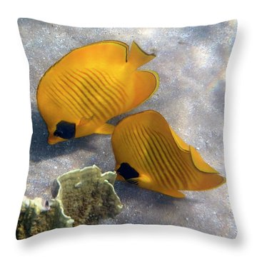 Throw Pillow featuring the photograph The Bluecheeked Butterflyfish by Johanna Hurmerinta