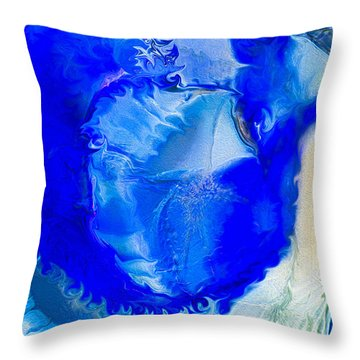 Throw Pillow featuring the painting The Blues by Omaste Witkowski