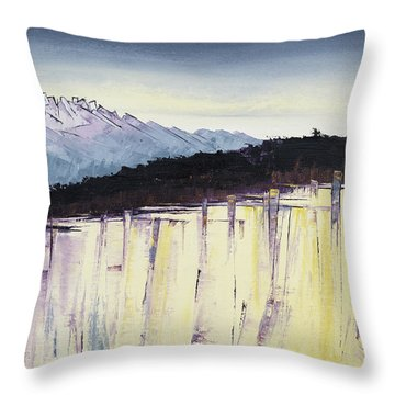 The Bluff And The Mountains Throw Pillow by Carolyn Doe