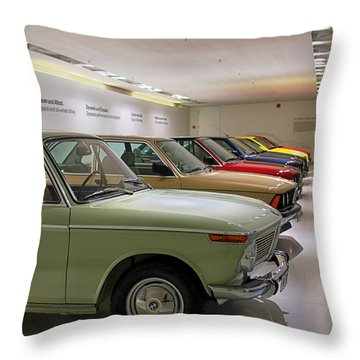 The Bmw Line Up Throw Pillow by Lauri Novak