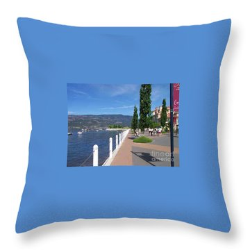 Throw Pillow featuring the painting The Boardwalk In Kelowna   by Rod Jellison
