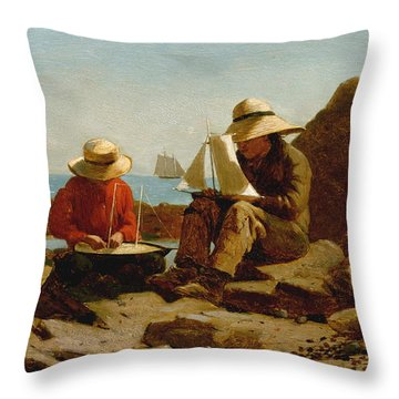 Throw Pillow featuring the painting The Boat Builders - 1873 by Winslow Homer