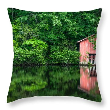 The Boat House At Desoto Falls Throw Pillow by Phillip Burrow