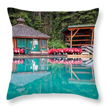 The Boat House At Emerald Lake In Yoho National Park Throw Pillow