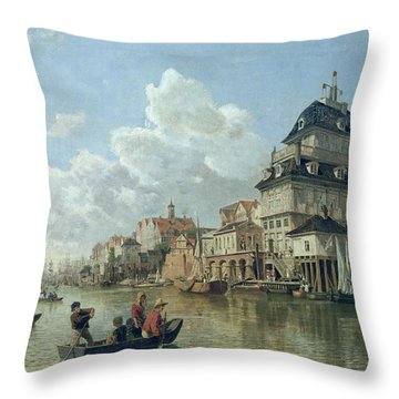 The Boat House At Hamburg Harbour Throw Pillow by Valentin Ruths
