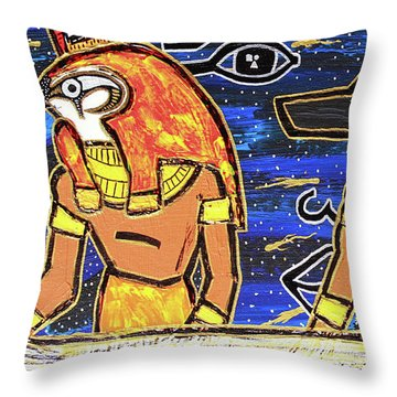 The Boat Of Ausar Passing Through The Underworld Throw Pillow