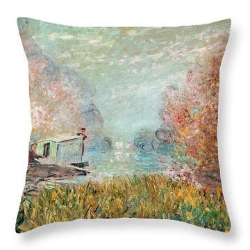 The Boat Studio On The Seine Throw Pillow by Claude Monet