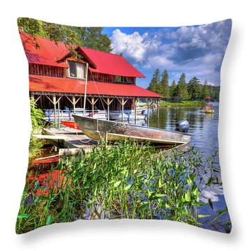 Throw Pillow featuring the photograph The Boathouse At Covewood by David Patterson