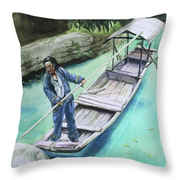 Throw Pillow featuring the painting The Boatman by Kris Parins