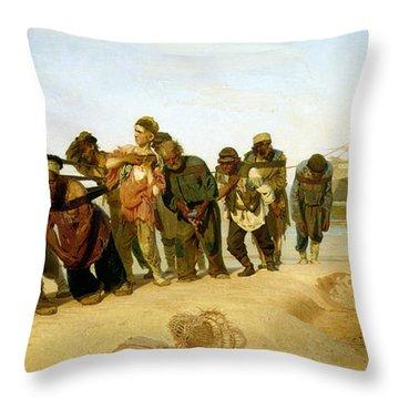 The Boatmen On The Volga Throw Pillow