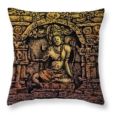 The Bodhisattva Samantabhadra Borobudur Java Throw Pillow by Larry Butterworth