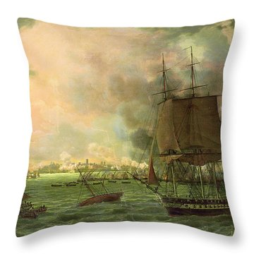 The Bombing Of Cadiz By The French  Throw Pillow by Louis Philippe Crepin