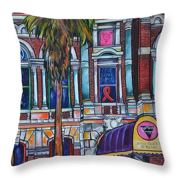 Throw Pillow featuring the painting The Bonham Exchange Close Up by Patti Schermerhorn
