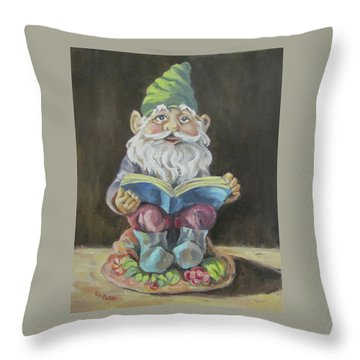 The Book Gnome Throw Pillow by Cheryl Pass