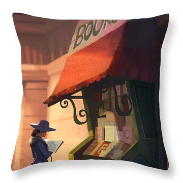 The Bookstore Throw Pillow