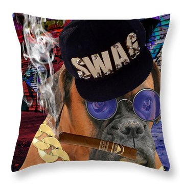 Throw Pillow featuring the mixed media The Boss Boxer by Marvin Blaine
