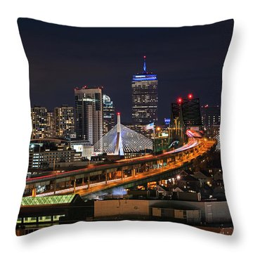 The Boston Skyline Boston Ma Full Zakim Throw Pillow