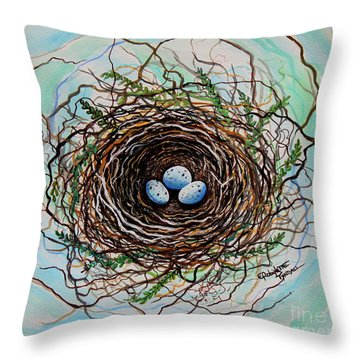 The Botanical Bird Nest Throw Pillow by Elizabeth Robinette Tyndall