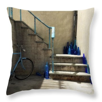 The Bottle Collector Throw Pillow by Cynthia Decker