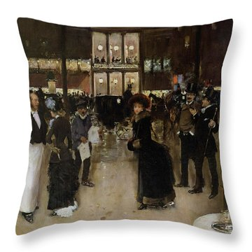 The Boulevard At Night Throw Pillow by Jean Beraud
