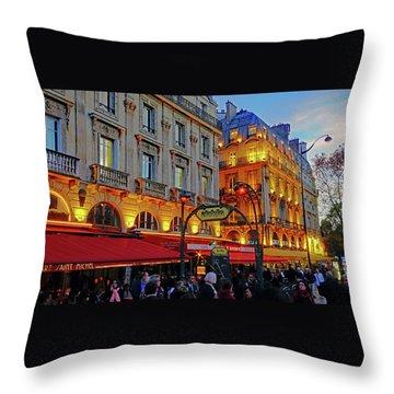 The Boulevard Saint Michel At Dusk In Paris, France Throw Pillow by Richard Rosenshein