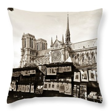 The Bouquinistes And Notre-dame Cathedral Throw Pillow