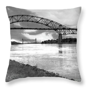 Throw Pillow featuring the photograph The Bourne And Railroad Bridges by Michelle Wiarda