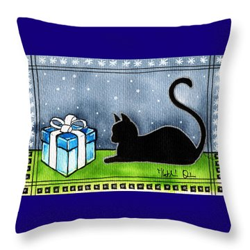 The Box Is Mine - Christmas Cat Throw Pillow