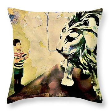 The Boy And The Lion Graffiti Creator,street-art Graffiti,street-art,graffiti Art Street,banksy Art, Throw Pillow