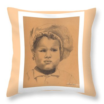The Boy Who Hated Cheerios -- Portrait Of African-american Child Throw Pillow