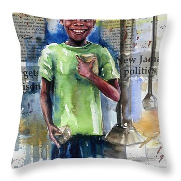 The Boy Who Sells Peanuts Throw Pillow