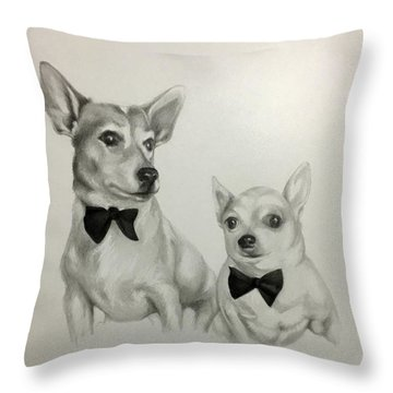 Throw Pillow featuring the drawing The Boys by Lori Ippolito