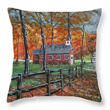 The Brick Country Schoolhouse Throw Pillow