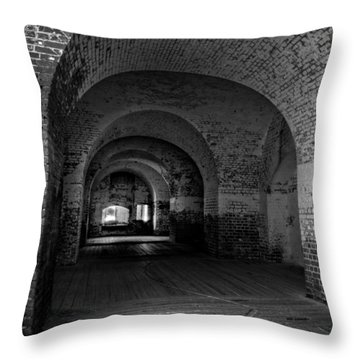 The Bricks Of Fort Pulaski In Black And White Throw Pillow