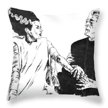 The Bride Of Frankenstein Throw Pillow by Bryan Bustard