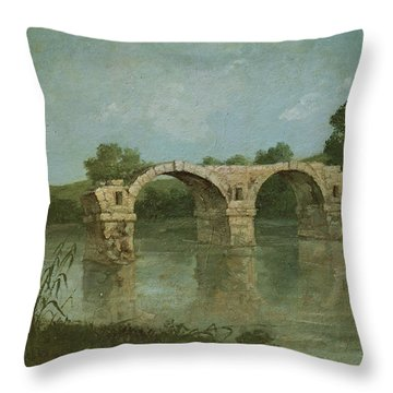 The Bridge At Ambrussum Throw Pillow by Gustave Courbet