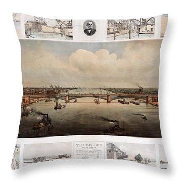 The Bridge At St. Louis, Missouri, Ca. 1874 Throw Pillow