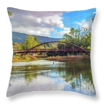 The Bridge At Vasona Lake Digital Art Throw Pillow