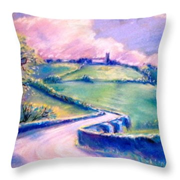 Throw Pillow featuring the painting The Bridge Below Hacketstown  by Trudi Doyle